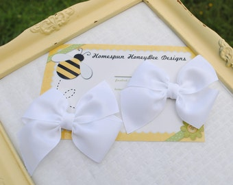 Easter Hair Bow Pair of Classic White Loopy Hairbows - Pigtail Bow Set - M2M Flat Loop Bows - First Communion Bows - 3.5 Inch Hair Clips