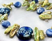 Sea Shades Necklace  Green Biwa Pearl Necklace  Lampwork and Green Pearl  Necklace  Blue and Green Pearl Statement Necklace