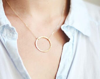 Hammered Circle Necklace | Brass | 14k Gold Filled | Sterling Silver