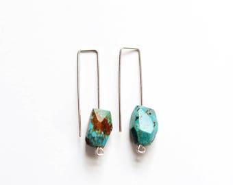Minimalist Wire Turquoise Earrings | Minimalist Earrings | Modern Earrings | Blue Stone Earrings | Gold Stone | Turquoise Jewelry