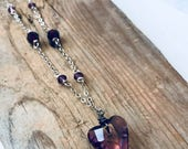 Crystal Heart Necklace - Purple Swarovski Crystals on Sterling Chain. Valentines Jewelry Heart Jewelry Sterling Silver Romantic Love