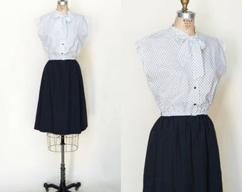 1970s Secretary Dress --- Vintage Black and White Dress