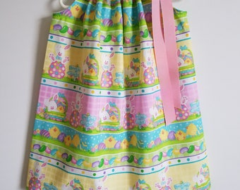 Easter Dresses Pillowcase Dress with Bunnies and Chicks Girls Dresses for Easter Outfit Bunny Dress Spring Dresses Easter Clothes for Girls
