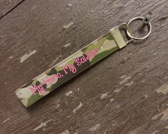 Military Wristlet, Army Name Tape Key Chain, Army Military Keychain, Army Key Fob, My Hero, My Soldier Key Chain