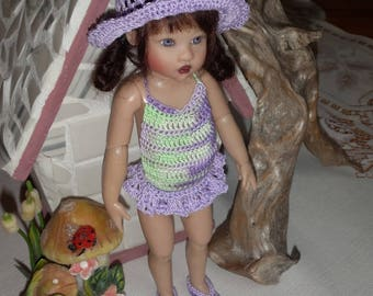 Crochet outfit for Helen Kish Riley Betsy McCall Doll 7 8 inch slim doll Swimsuit Hat Sandals Green Purple