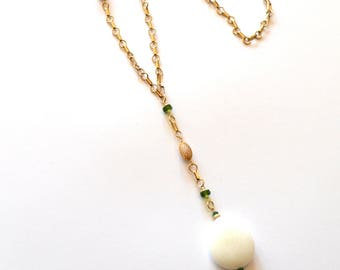 Long Gold White Y Necklace / Green Gold White Y Necklace / Asymmetric Alabaster Statement Necklace with14k Gold Chain and Green Onyx Gems