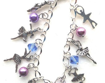 FREE Shipping! Ballerina Charm Bracelet. Ballet Bracelet. Dance Recital. Bracelet. Dancing. Ballerina  BC24