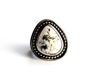 READY TO SHIP - White Buffalo Turquoise Sterling Silver Ring #03 | Size 7.5 | Geometric Minimalist Boho Bohemian | Gugma Jewelry