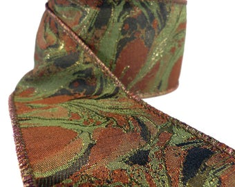 """Book Lover's Marbelized Green Rust & Black Wired Ribbon  2.5"""" Wide"""