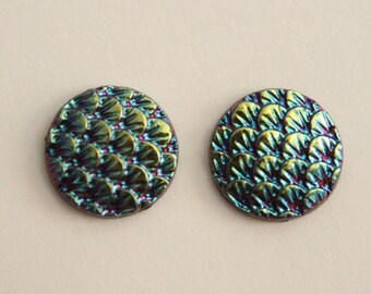 Mermaid Dragon Scale Cabochons - Blue Gold Black Iridescent . 12mm (2)