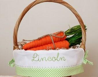 PRE-ORDER 2019, Easter Basket Liner, Personalized Easter Basket, Heirloom Easter Basket, fits Pottery Barn Kids Sabrina, Green Check