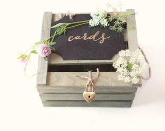 Reception card box, Locked wooden container, Green rustic wedding card container, Card box for wedding money