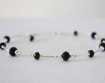 Black Anklet and Sterling Silver, Gemstones Anklet, Silver Anklet, Beach, Vacation, Beach Wedding, Bridesmaid, best friend gift