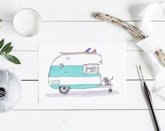 Happy Camper Caravan Card - surf greeting card - Australian retro surfer Card - A6 watercolour print