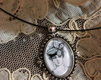 Her Butterfly Hat - Art Necklace