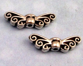Tiny Fairy Wing Bead, Antique Silver, Tierracast 2-Pc. TS45