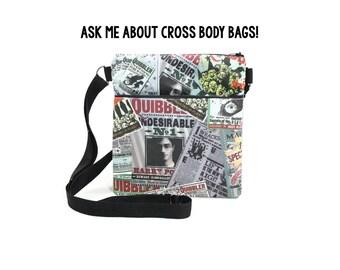 Cross Body Bag CHOOSE PRINT /  Harry Potter Quibbler / Disney / Hedgehog
