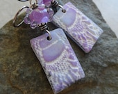 RESERVED Lilacs & Lace ... Artisan-Made Polymer Clay Charm, Lampwork and Sterling Silver Wire-Wrapped Lightweight Boho Earrings