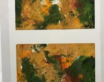 Pop, Pop, Pop, Autumn Arrives!, Diptich, Oil on Paper, gold, green orange and red, Original