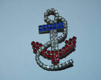 Anchor Rhinestone Brooch, Red, White, Blue, Patriotic Brooch, Nautical Brooch, Anchors Away!