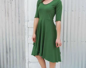 Organic High-Low Dress with a Scoop Neck and 3/4 Sleeves -  Custom Made in the USA by Yana Dee - 25 Colors to Choose from