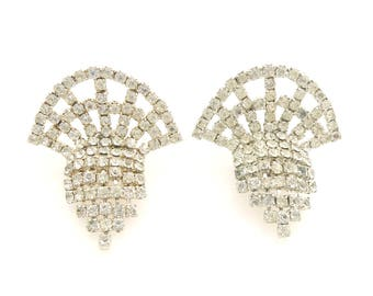 Vintage 1980s Art Deco inspired silver rhinestone fan sparkly bling statement shoe clips