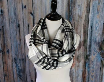 Plaid Infinity Scarf - Infinity - Plaid Flannel Scarf - Gift for Her - Clothing Gift - Black & White Plaid Scarf - Gift for Mom