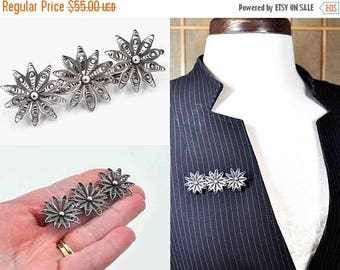 Vintage Ambriz Mexico Sterling Silver Filigree Flower Brooch, Large, Pin, Floral, 3D, Openwork, Pre-Eagle, Very Early Mexican #b992