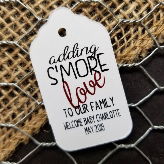 Adding Smore Love to our family MEDIUM Personalized Shower Favor Tag  choose your amount, S'more Love, adding smore love