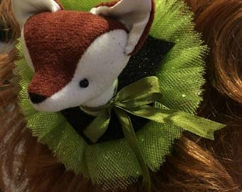 Fox Faux Vegan Taxidermy Barrette Fascinator, soft sculpture, plush forest animal hair accessory, brooch, pin, green glitter sparkles