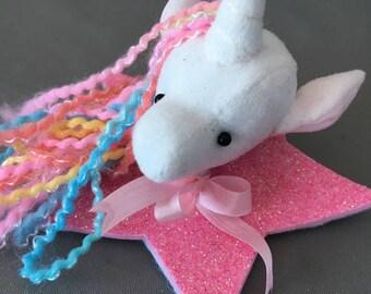 Unicorn Pin brooch rainbow hair glitter star boutonniere Vegan Taxidermy soft sculpture plush animal accessory, bridal wedding groom pride