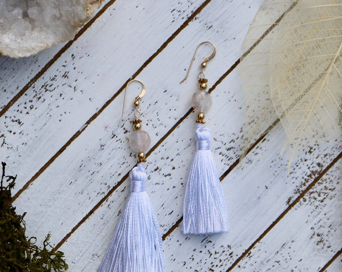 Sun Stone Tassel Earrings