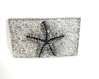 """Starfish Belt Buckle- Womans Star Fish Buckle - Rhinestone Buckle - Silver Black Belt Buckle- Changeable Buckle- Women's Gift Idea- 3 1/4"""" w"""