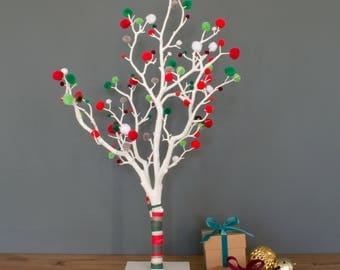 Pom Pom Christmas Tree, Alternative Christmas Tree, Small Christmas Tree, Christmas Home Decor, Bright Christmas Tree, Modern Christmas Tree