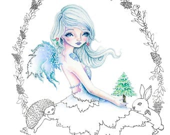 A Christmas Tree - Digital Stamp PRINTABLE Instant Download / Wreath hedgehog bunny  Fairy Fantasy Line Art by Ching-Chou Kuik