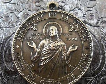 CLEARANCE SALE Ornate Signed Penin Poncet Vintage Bronze Catholic Religious Medal, Sacred Heart Of Jesus & The Blessed Virgin Mary Immaculat