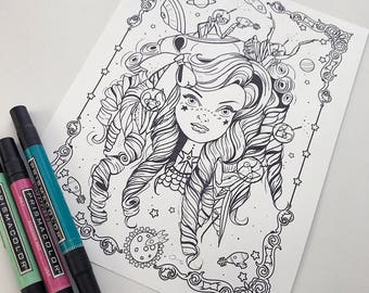 Alien Girl Download Coloring Page Pocket Full of Posiez