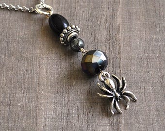 Silver Spider Necklace Gothic Style Black Crystal & Glass Beads Halloween Gothic Spidergirl Vampire Jewelry