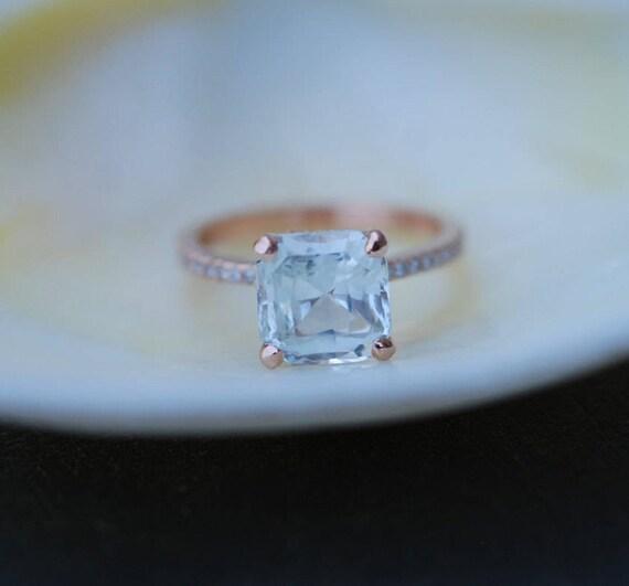 White Sapphire Engagement Ring. Asscher cut ring. Square ring. 14k rose gold ring. 2.2ct sapphire ring. Engagement rings by Eidelprecious