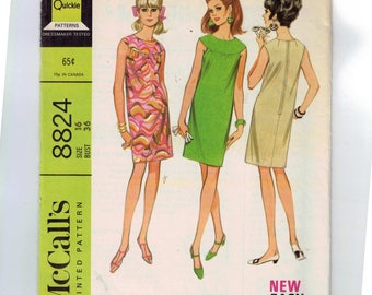 1960s Vintage Sewing Pattern McCalls 8824 Easy Front Yoke Gathered Shift Dress Misses Size 16 Bust 36 60s 1967