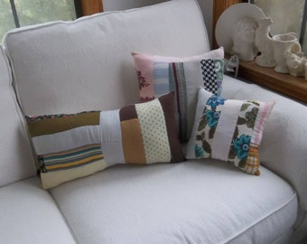 3 Vintage Quilt Pillows Handmade Pillows Antique Quilt Pillows Porch Pillows Primitive Bedding Patriotic Pillows French Country Prairie