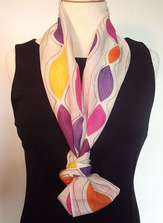 "Hand Painted Silk Infinity Scarf, 9x60"", Jewel Colors - Purple, Pink, Orange, Plum, Yellow with Black Lines on White"