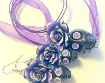 Sugar Skull Jewelry Set Black Purple Blue White Day of the Dead Sugar Skull Necklace and Earrings Set