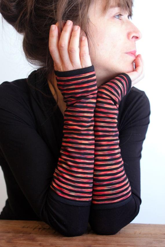 Mitten long striped black and yellow Orange. Double Jersey cotton Lycra. Mitten women