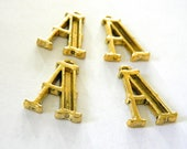 Letter A Charms Set of 4 Gold Color 26x17mm Initial Charm