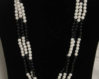 Beautiful Black and White Vintage Beaded Multi Strand Necklace