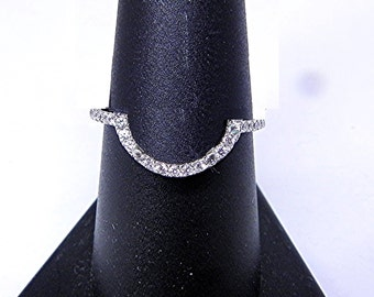 14K white gold Diamond wedding band for 9mm Round Engagement ring.