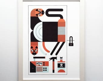"Schrödinger's Cat Quantum Physics 16x22"" Art Print by Raymond Biesinger"