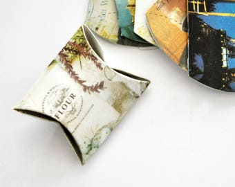 Pillow Boxes {5} Small | Mini Favor Box | French Style Print  | Small Gift Boxes | Wedding Favor Boxes | Bridal Party | Jewelry Boxes