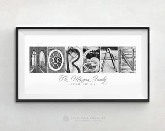 Unique Custom Name in Black and White Architectural Letter Photos 10x20 Unframed Print, White Frame, or Wood Mount